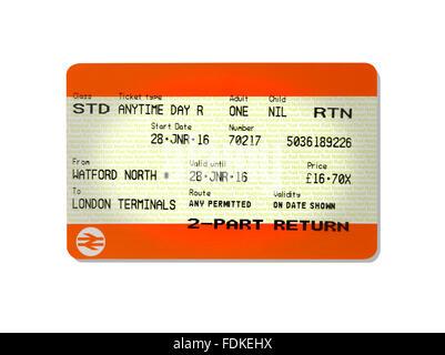 A return train ticket - Stock Image