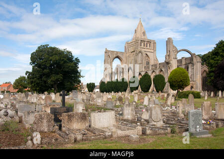 West arches of Croyland Crowland Abbey which housed up to 40 benedictine monks, Great Postland Fens, Lincolnshire, UK - Stock Image