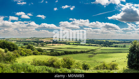 Panorama from Red Hill looking south over the Lincolnshire Wolds, the rolling hill uplands underlain by Cretaceous - Stock Image