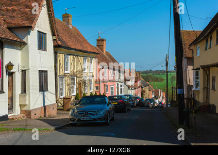 Lavenham Suffolk, view in summer of medieval houses sited in Prentice Street in the centre of Lavenham village, Babergh district, Suffolk, England, UK - Stock Image