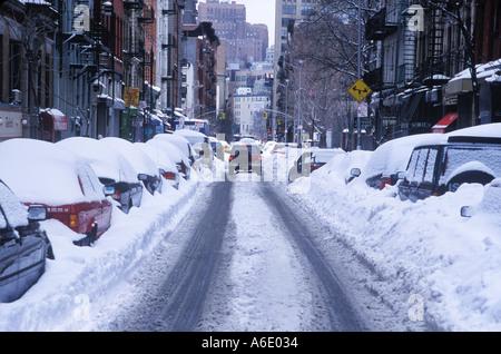 Thompson Street SOHO New York after snow storm 2003 - Stock Image