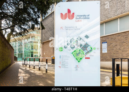 A sign showing a map of the campus at The University of Bedfordshire in Luton, UK - Stock Image