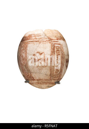 Cartagena, Spain - September 14th, 2018: Decorated ostrich egg of Punic Period at ARQUA, National Museum of Underwater Archaelogy - Stock Image