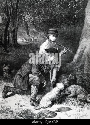 Truffle hunting, using dogs to smell out truffles. In season, truffles from English beechwood, particularly those in Sussex, Hampshire, Wiltshire, Dorset and Kent. 1869. - Stock Image