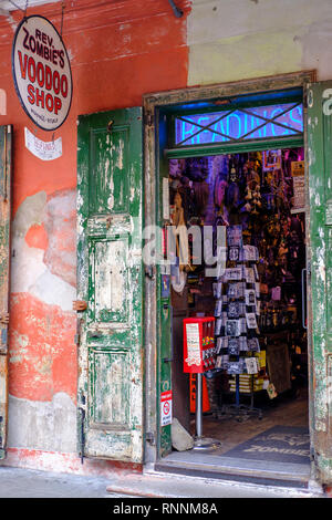 Reverend Zombie's House of Voodoo store front entrance, store sign, religious artifacts, New Orleans French Quarter New Orleans, Louisiana, USA - Stock Image