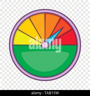 Colorful speedometer icon, cartoon style - Stock Image