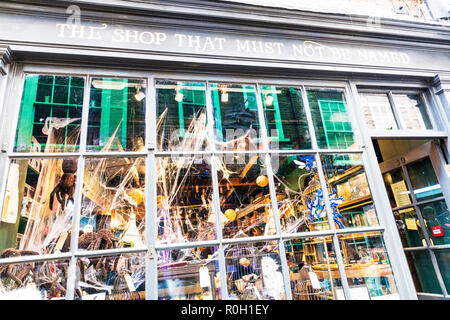 The shop that must not be named York City Yorkshire UK, independent high street shops, York shops, shopping York City UK, unusual shop names, York UK - Stock Image