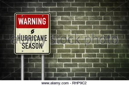Warning - Hurricane season - Stock Image