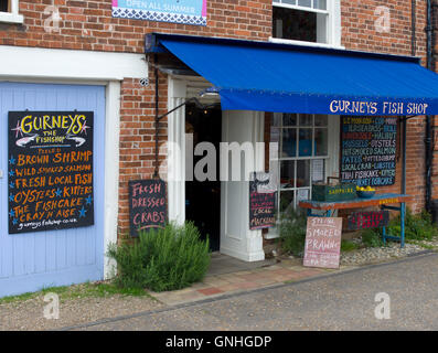 Shop front of Fish Shop in the trendy village of Burnham Market in North Norfolk. Sometimes referred to as Chelsea - Stock Image