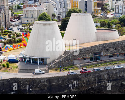 Truncated cones of the Landmark Theatre on the sefront at Ilfracombe, North Devon, UK - Stock Image