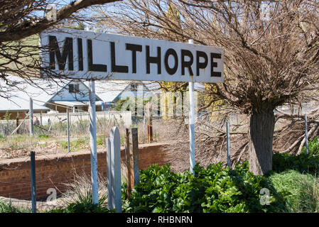 The old Milthorpe Railway Station now converted to shops and a cafe. - Stock Image