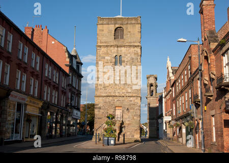 Morpeth town hall tower, Market Place, Northumberland - Stock Image