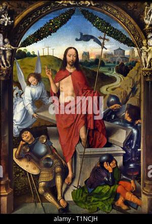 Triptyque of the Resurrection of Christ 1490 by Hans Memling ( Memlinc ) 1430 – 1494 Belgian, Belgium, Flemish, ( left wing Martyrdom of Saint Sebastian - Right wing Ascension of Christ ) - Stock Image