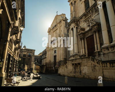 A quaint street in the city of Catania, Sicily, Italy - Stock Image
