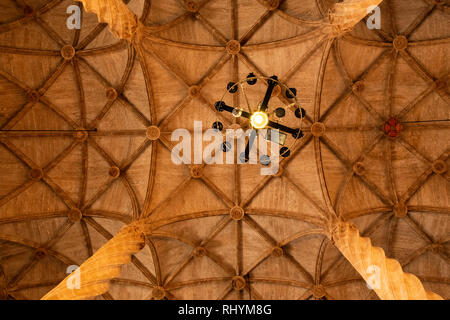 Decorative ceiling at the hall of Columns in the Silk Exchange Valencia Spain - Stock Image