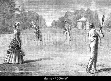 MIXED DOUBLES TENNIS MATCH about 1880 - Stock Image