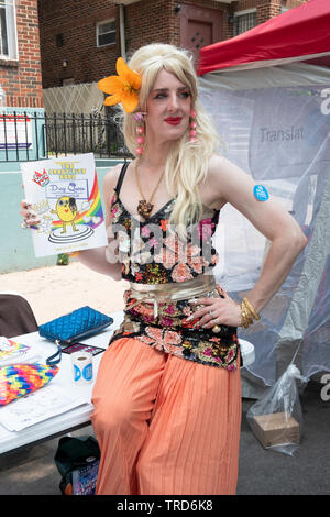 Portrait of a man in drag promoting the DRAG QUEEN READING HOUR at the 2019 Queens Pride Parade in Jackson Heights, NYC. - Stock Image