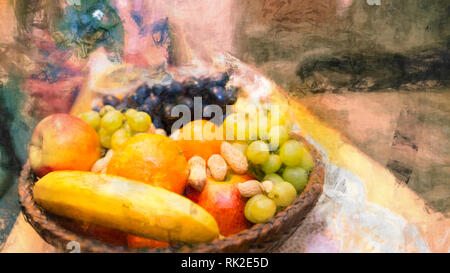 Fruits in a wicker basket. Artistic still life. Abstract background with pattern, painting effect and surreal festive mood. Colorful juicy fruit pile. - Stock Image