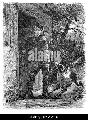 A young hunter and gun dog leave his forest cottage. From the Camera Obscura, a 19th Century collection of Dutch humorous-realistic essays, stories and sketches in which Hildebrand, the author, takes an ironic look at the behavior of the 'well-to-do', finding  them bourgeois and without a good word for them. - Stock Image