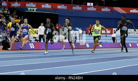 Birmingham, UK. 16th Feb, 2019. China's Su Bingtian (3rd R) competes in the men's 60m final at the IAAF Indoor Grand Prix in Birmingham, Britain on Feb. 16, 2019. Credit: Han Yan/Xinhua/Alamy Live News - Stock Image