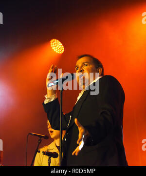 Manchester, UK. 3rd November, 2018. Manchester Lights Switch on. Cast from the Producer sing for the crowd. Credit: Della Batchelor/Alamy Live News - Stock Image