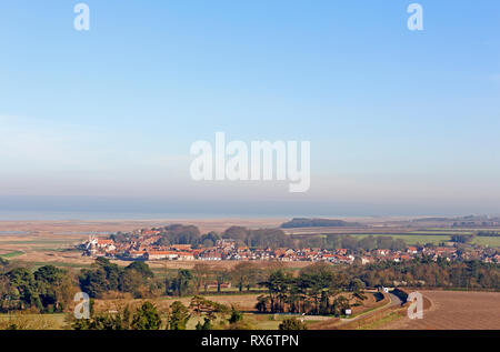 A view of the village of Cley-next-the-Sea from the tower of Blakeney Church, Norfolk, England, United kingdom, Europe. - Stock Image