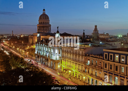 Panoramic view over Havanna Center with Capital at sunset, Cuba - Stock Image