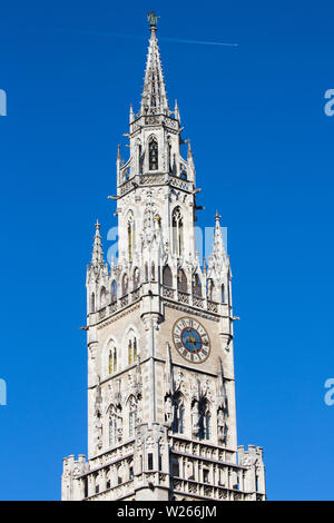 Marienplatz - main square of the Munich, Germany. The old and new city halls, Marian column, church Frauenkirche and Fish's fountain together are form - Stock Image