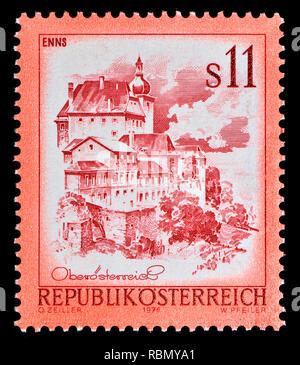 Austrian definitive postage stamp (1976) : Enns - Stock Image