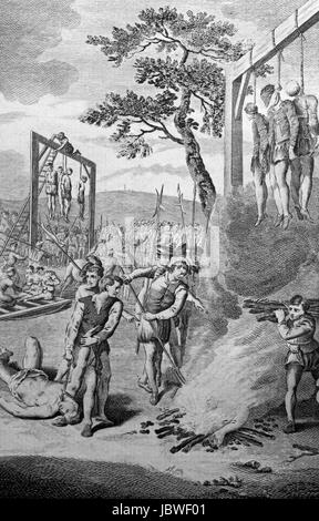 Execution by hanging of Lollards in the reign of Henry IV, hung on gibbets of fire in the fields near London. Engraving - Stock Image
