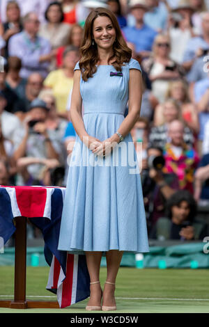 London, UK. 14th July 2019. Wimbledon Tennis Tournament, Day 13, mens singles final; Catherine Duchess of Cambridge waits to present the trophies Credit: Action Plus Sports Images/Alamy Live News - Stock Image