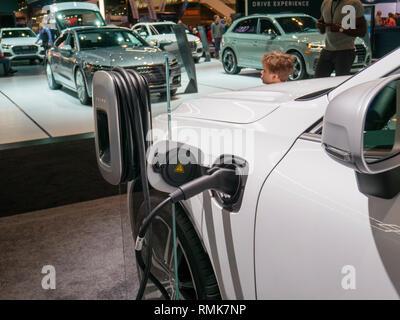 2019 Volvo XC60 plugin hybrid vehicle. Chicago Auto Show. - Stock Image