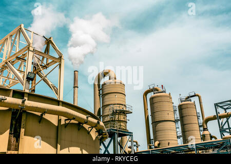 Industrial machinery and structures of a geothermal power plant in Calipatria in California. - Stock Image