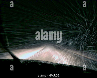 Derbyshire, UK. 14th December, 2017. UK Weather: driving snow conditions on the A515 road souyh of Buxton Derbyshire - Stock Image
