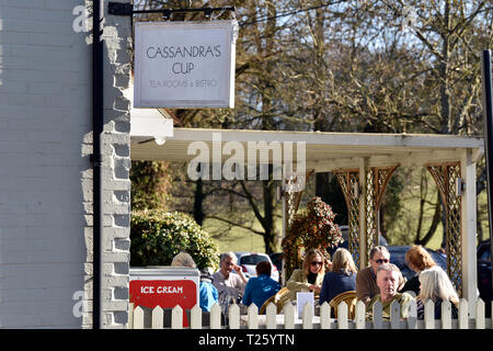 Cassandra's Cup, a traditional tea room in the village of Chawton, near Alton, Hampshire, UK. - Stock Image