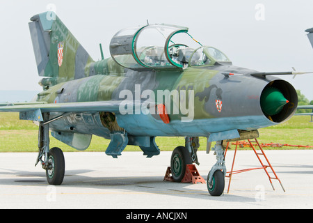 Croatian Air Force MiG-21 UMD two seater trainer, Pleso AFB during 'open day' visit in 2007 - Stock Image
