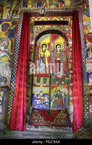 Door of Ura Kidane Mihret Monastery, Lake Tana , Ethiopia - Stock Image