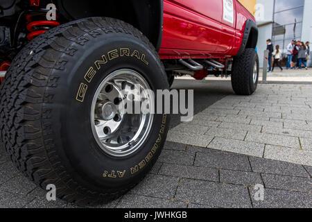 Bielsko-Biala, Poland. 12th Aug, 2017. International automotive trade fairs - MotoShow Bielsko-Biala. View on a wheel of a pickup Ram 1500 heavy duty. Credit: Lukasz Obermann/Alamy Live News - Stock Image