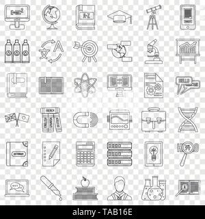 Dictionary icons set, outline style - Stock Image