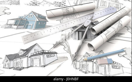 Top view of Architectural house blueprints , drawings and sketches. Rolls, Ruler, Pencil, Eraser and Divider of - Stock Image