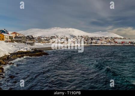 The port town of Honningsvag in Norway during the winter. - Stock Image
