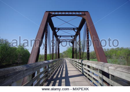 Converted Railroad bridge and bicycle corridor, Iowa USA - Stock Image