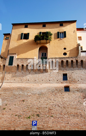 colorful house built on top of the historic walls of the beautiful hilltown of Jesi in Le Marche,the Marches, Italy - Stock Image