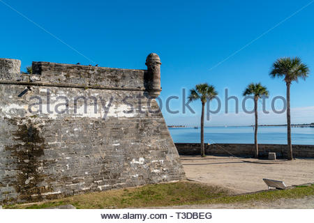 A garita, or bastion sentry box, at the Castillo de San Marcos, a Spanish fortification at St. Augustine, Florida USA - Stock Image