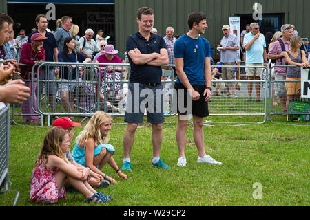 90th Kent County Show, Detling, 6th July 2019. Men and children wait to start a race with the sheep and sheepdog - Stock Image