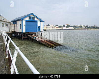 Old Lifeboat Shed & Slipway, Clacton Pier, Clacton-on-Sea - Stock Image