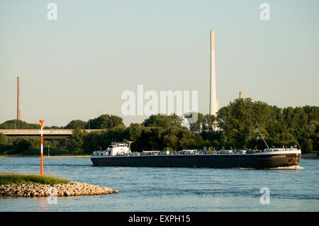MTS Therese Straub, oil tanker, river Rhine, Rheindorf, Leverkusen, Germany. - Stock Image