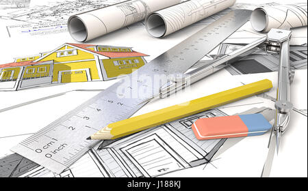 Yellow Theme Architectural house sketches. Rolls, Ruler, Pencil, Eraser and Divider of metal. 3D render. - Stock Image