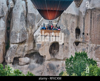 An ordinary day in Cappadocia with ballons, Turkey - Stock Image