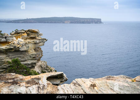 View of North Head, Sydney Harbour, seen from The Gap cliffs on South Head, eastern Sydney, New South Wales, Australia. - Stock Image